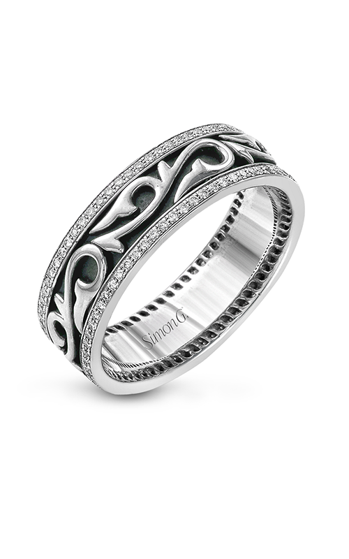 Simon G Men's Wedding Bands - 18k white gold, 18k black gold 0.41ctw Diamond Wedding Band, MR1957 product image
