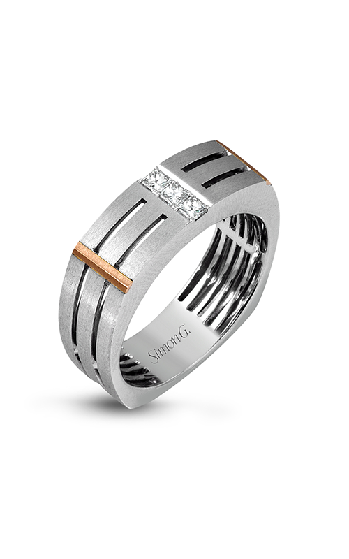 Simon G Men's Wedding Bands - 14k white gold, 14k rose gold 0.19ctw Diamond Wedding Band, MR2107 product image