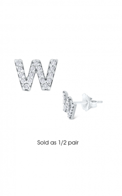 KC Designs Diamond Single Initial Earrings E3171-W product image