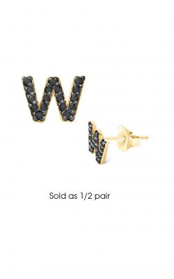 KC Designs Diamond Single Initial Earrings E3171BK-W product image