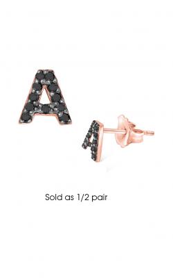 KC Designs Diamond Single Initial Earrings E3171BK-A product image