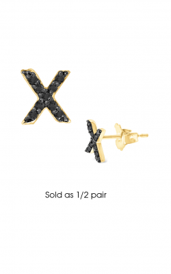 KC Designs Diamond Single Initial Earrings E3171BK-X product image