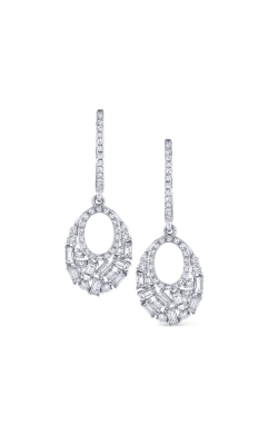 KC Designs 14K Baguette and Round Diamond Oval Earrings E9804 product image