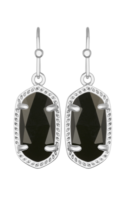 Kendra Scott Earrings Lee Rhodium Black Opaqueglass product image