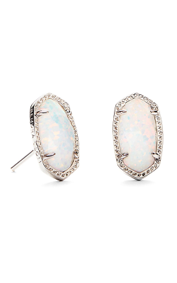 Kendra Scott Earrings Ellie Rhodium White Opal product image