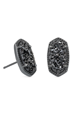 Kendra Scott Earrings Ellie Gunmetal Black Drusy product image