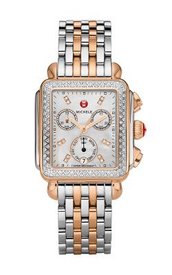 Michele Signature Deco Diamond, Two-Tone Rose Gold Diamond Dial Watch