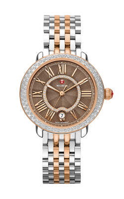 Michele Serein Mid Diamond Two-Tone Rose Gold, Cocoa Diamond Dial