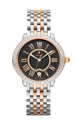 Serein Mid Diamond Two-Tone Rose Gold, Black Diamond Dial