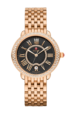 Serein Mid Diamond Rose Gold, Black Diamond Dial