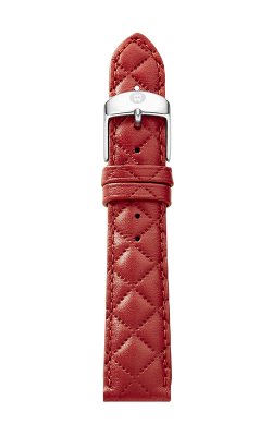 Michele 16MM Red Quilted Leather Strap MS16AA370600