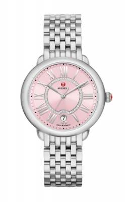 Michele Serein Mid Pink, Diamond Dial Watch