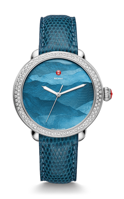 Michele Serein Diamond, Teal Gradient Dial/ Peacock Blue Lizard Strap Watch MWW21A000058