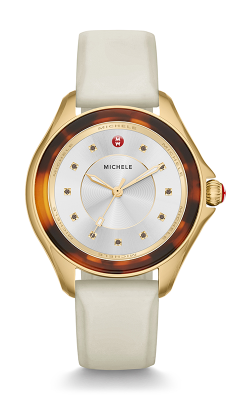 Michele Cape Ivory Gold, Tort Smokey Quartz Dial Watch MWW27A000030
