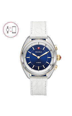 Michele Cape Two-Tone Navy Dial White Alligator And Navy Silicone Hybrid Smartwatch MWWT32A00001