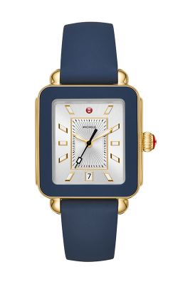 Michele Deco Sport Gold Tone and Navy Silicone Watch  MWW06K000001