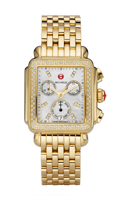 Michele Signature Deco Gold Diamond, Diamond Dial Watch MW06P01B0046_MS18AU246710