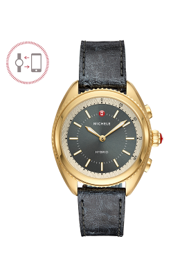 Michele Gold-Plated Shadow Grey Dial and Shadow Grey Ostrich Hybrid Smartwatch MWWT32A00013 product image