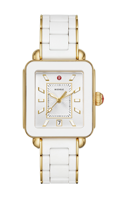 Michele Deco Sport Gold White Wrapped Silicone Watch MWW06K000016