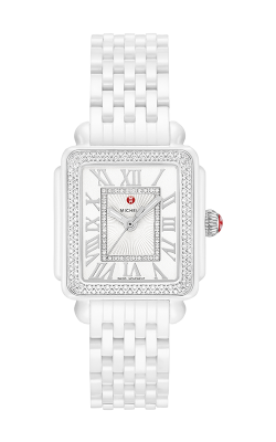 Michele Deco Madison Mid White Ceramic Diamond Watch MWW06G000026