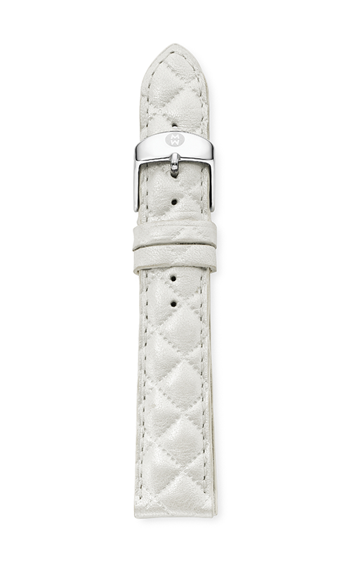 Michele 16mm Whisper White Quilted Leather Strap MS16AA370156