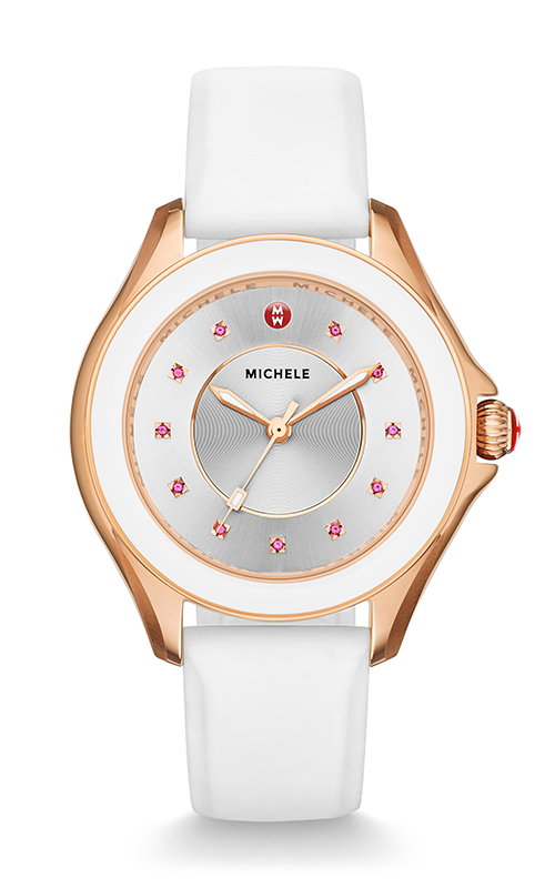 Michele Cape White Rose Gold, Baby Pink Topaz Dial