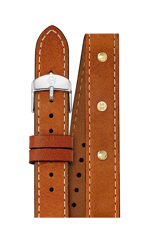 Michele 16MM Saddle Calfskin Gold Stud Double Wrap Strap MS16DI270904