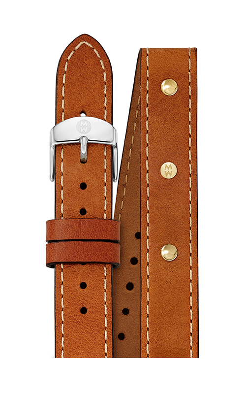 Michele 18MM Saddle Calfskin Gold Stud Double Wrap Strap MS18DI270904