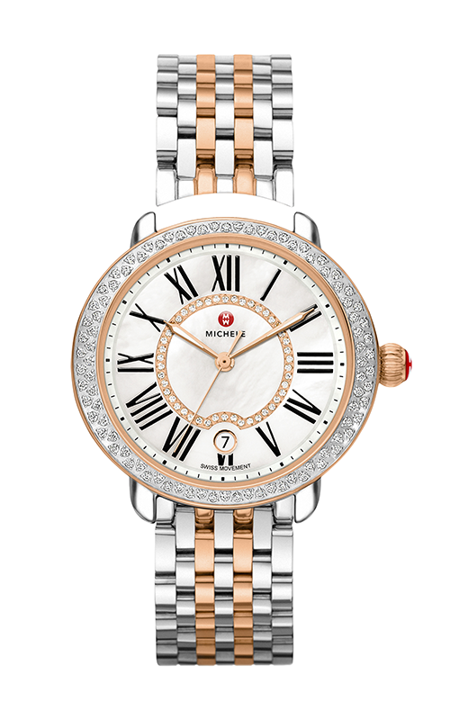 Michele Serein Mid Diamond Two-Tone Rose Gold, Diamond Dial Watch