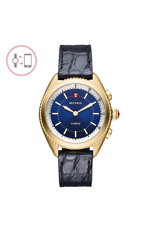 Michele Cape Gold-Plated Navy Dial Navy Alligator And Silicone Hybrid Smartwatch MWWT32A00002
