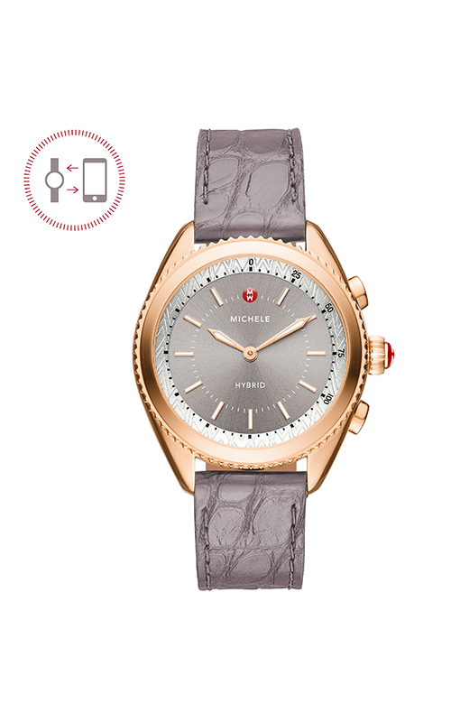 Michele Cape Rose Gold-Plated Grey Dial Grey Alligator And Blush Silicone Hybrid Smartwatch MWWT32A00005