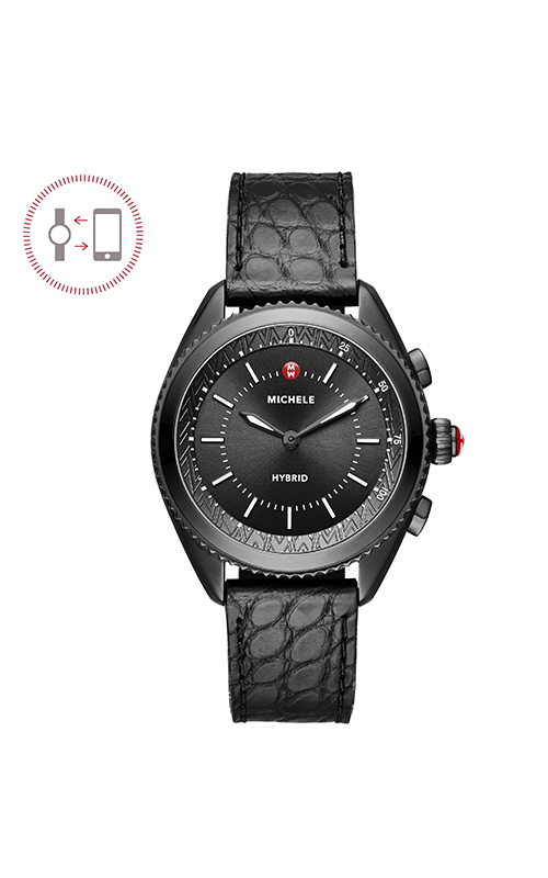 Michele Cape Black IP Black Dial Black Alligator And Silicone Hybrid Smartwatch MWWT32A00004