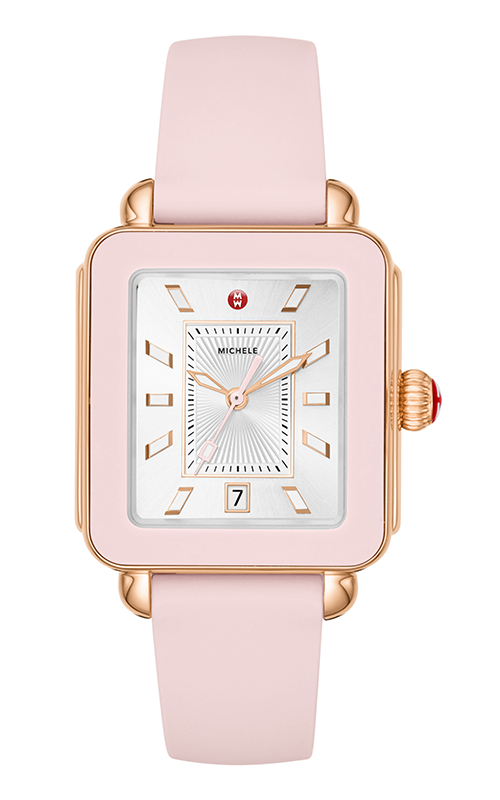 Michele Deco Sport Rose Gold Tone and Blush Silicone Watch MWW06K000005