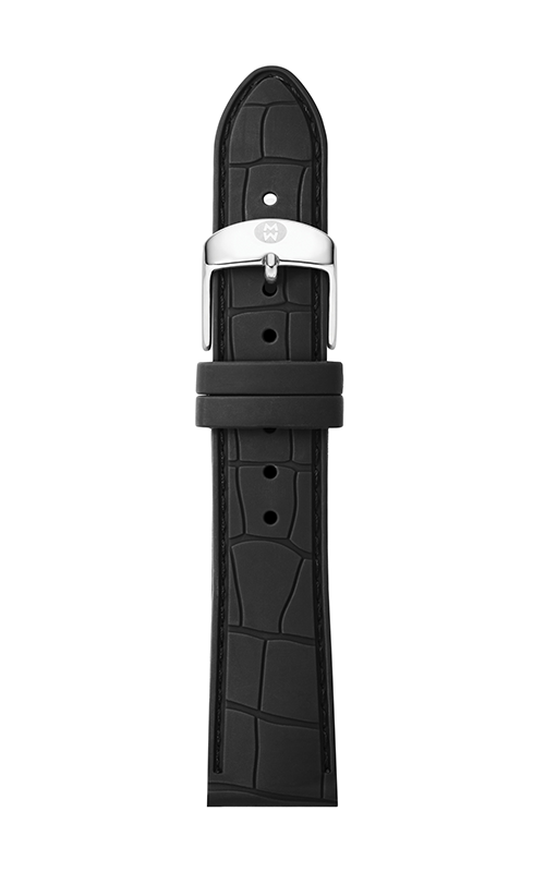 Michele 16mm Black Embossed Silicone Strap MS16AI710001