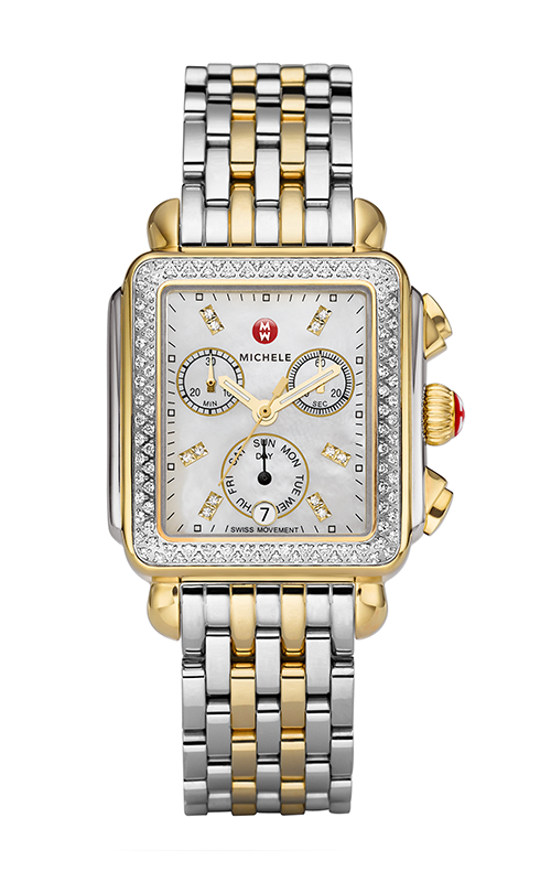 Michele Signature Deco Two-tone Diamond, Diamond Dial Watch MW06P01C5046_MS18AU285048