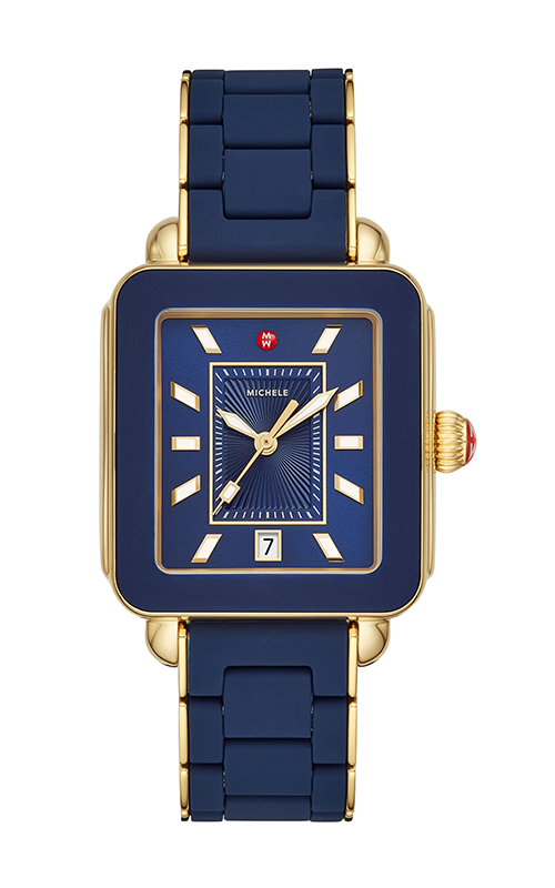Michele Deco Sport Gold Deep Blue Wrapped Silicone Watch MWW06K000017