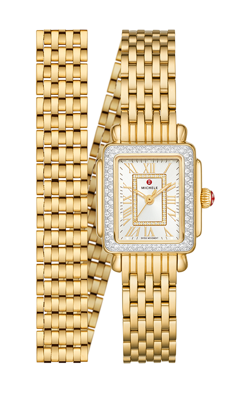 Michele Deco Mini 18k Gold Diamond Watch MWW06D000164