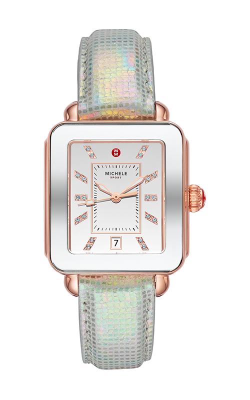 Michele Deco Sport Pink Gold-Tone Aqua Topaz Dial Watch MWW06K000033