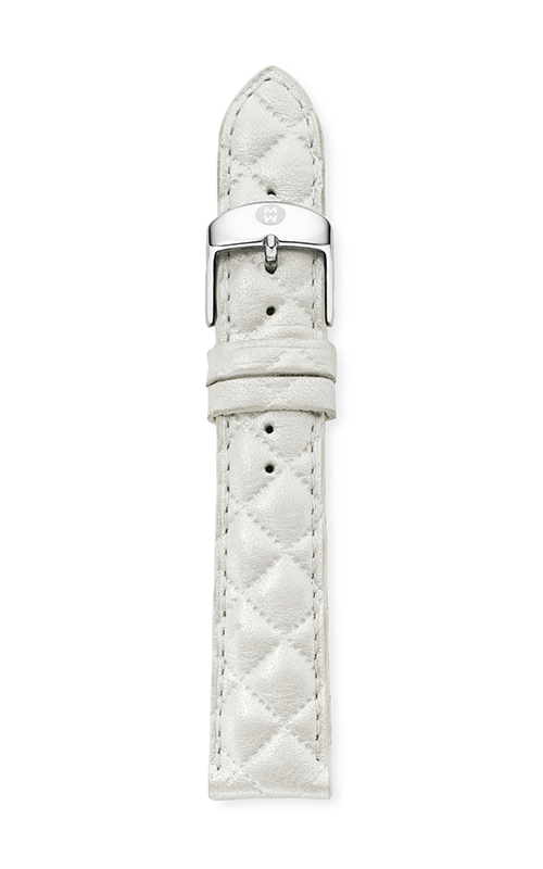 Michele 18mm Whisper White Quilted Leather Strap product image