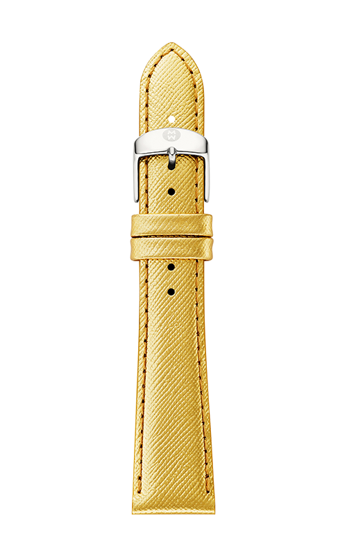 Michele 16mm Metallic Gold Saffiano Leather Strap product image