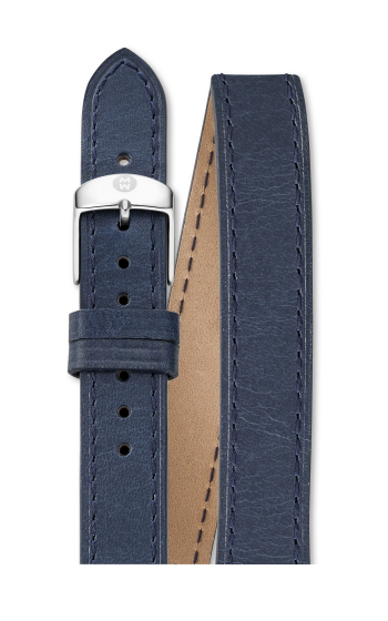 Michele 18mm Navy Leather Double Wrap product image