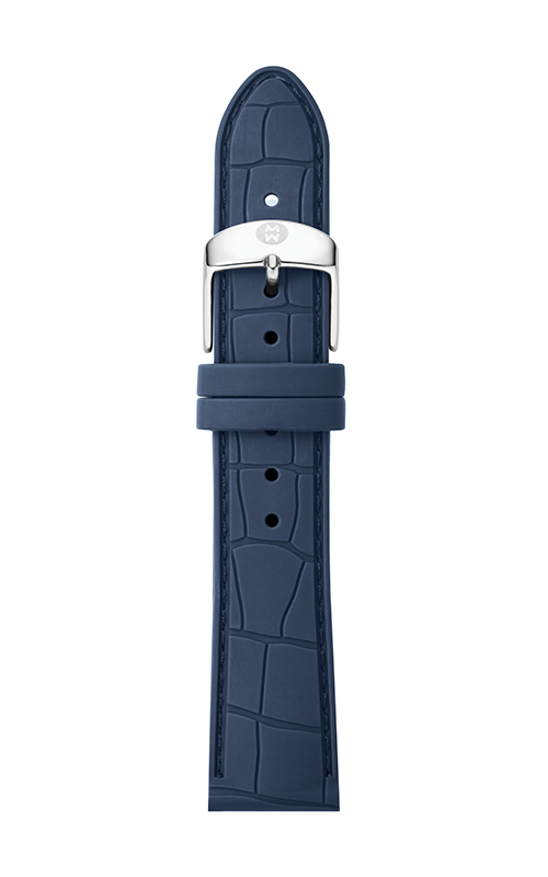 Michele 16mm Navy Embossed Silicone Strap MS16AI710400 product image
