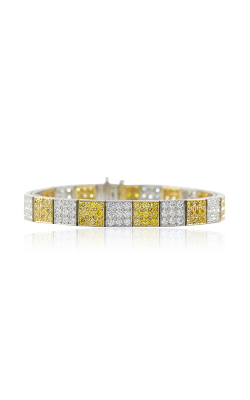 Oscar Heyman 18kt Gold & Platinum Yellow And White Diamond Block Bracelet 804160 product image