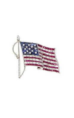 Oscar Heyman Platinum Sapphire American Flag Brooch 200198 product image