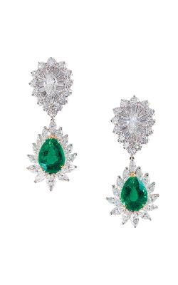 Oscar Heyman 18kt Gold & Platinum Diamond Top Emerald Drop Earrings 706220 + 706345 product image