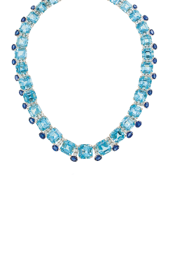 Oscar Heyman Platinum Square Aquamarine And Sapphire Necklace 601894 product image