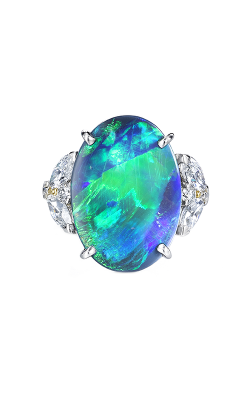 Oscar Heyman Platinum Black Opal & Diamond Ring 301346 product image