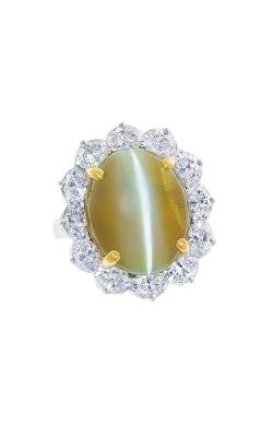 Oscar Heyman 18KT Gold & Platinum Cat's-Eye Entourage Diamond Ring 301733 product image