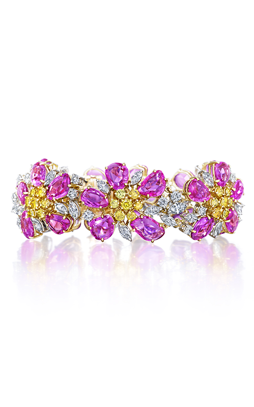 Oscar Heyman 18kt Gold & Platinum Pink Sapphire And Yellow Diamond Flower Bracelet 804332 product image