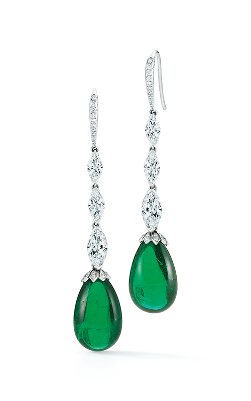 Oscar Heyman Platinum Cabachon Emerald Diamond Earrings 706325 product image
